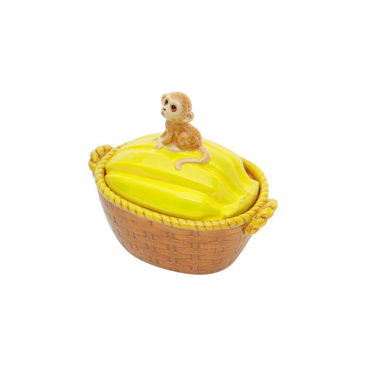 Pote 19,5 X 12,5 cm de cerâmica amarela com tampa Banana Rojemac - 26800