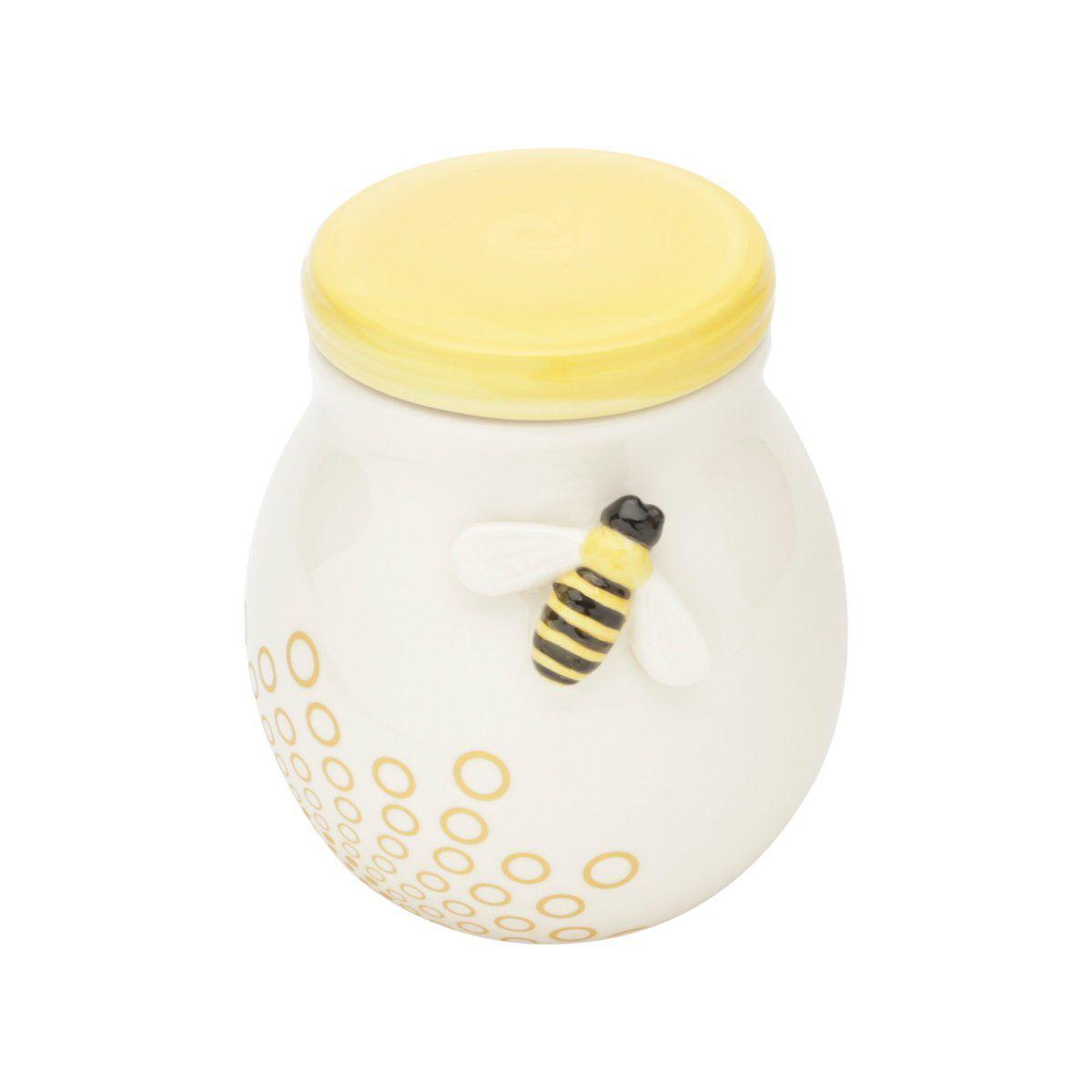 Pote decorativo 11,8 cm de cerâmica branca e amarela Abelha Lyor - L64019