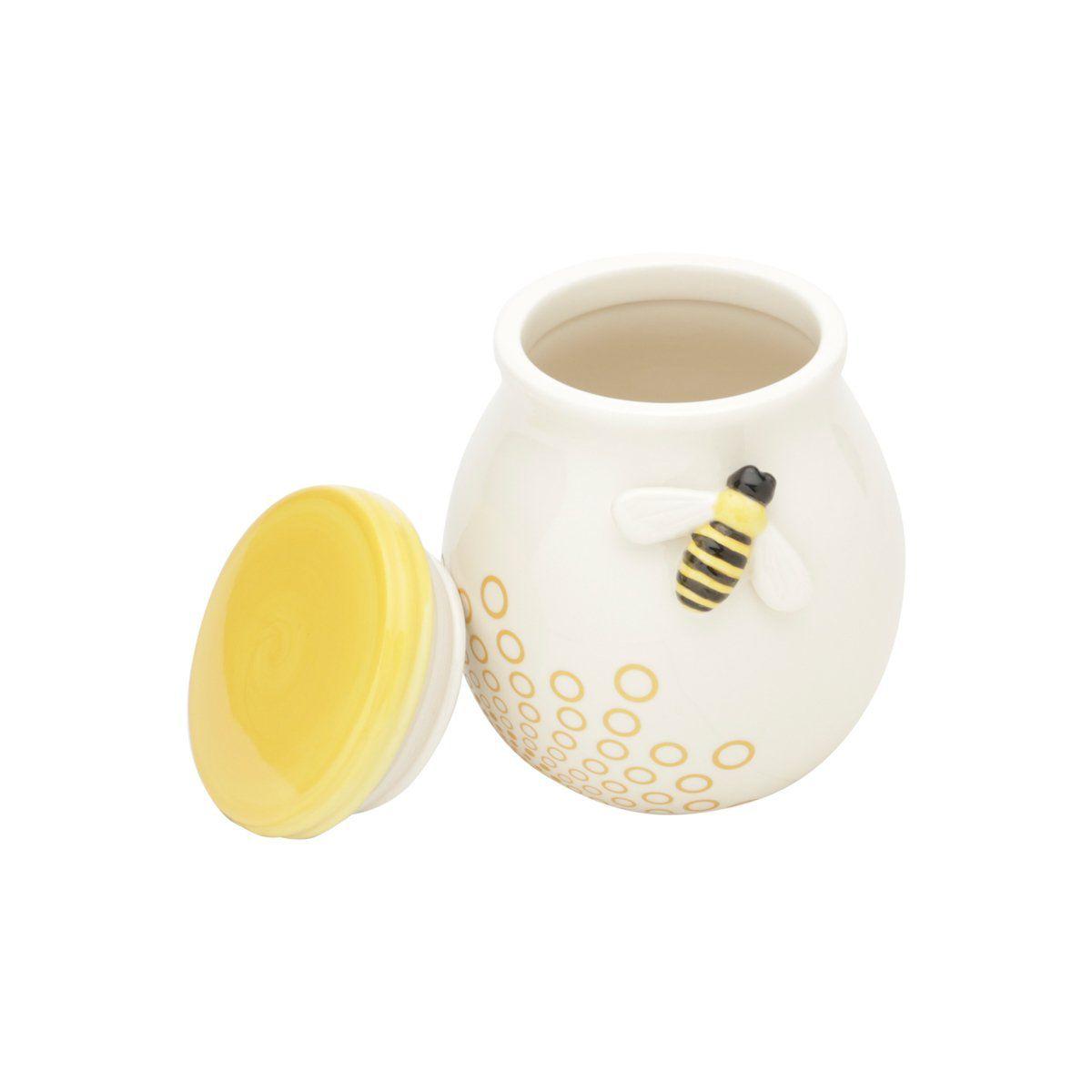 Pote decorativo 12,9 cm de cerâmica branca e amarela Abelha Lyor - L64018