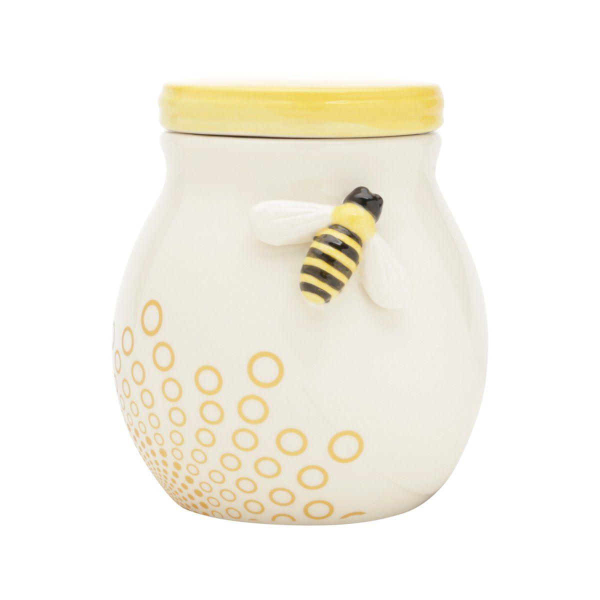 Pote decorativo 14,8 cm de cerâmica branca e amarela Abelha Lyor - L64017
