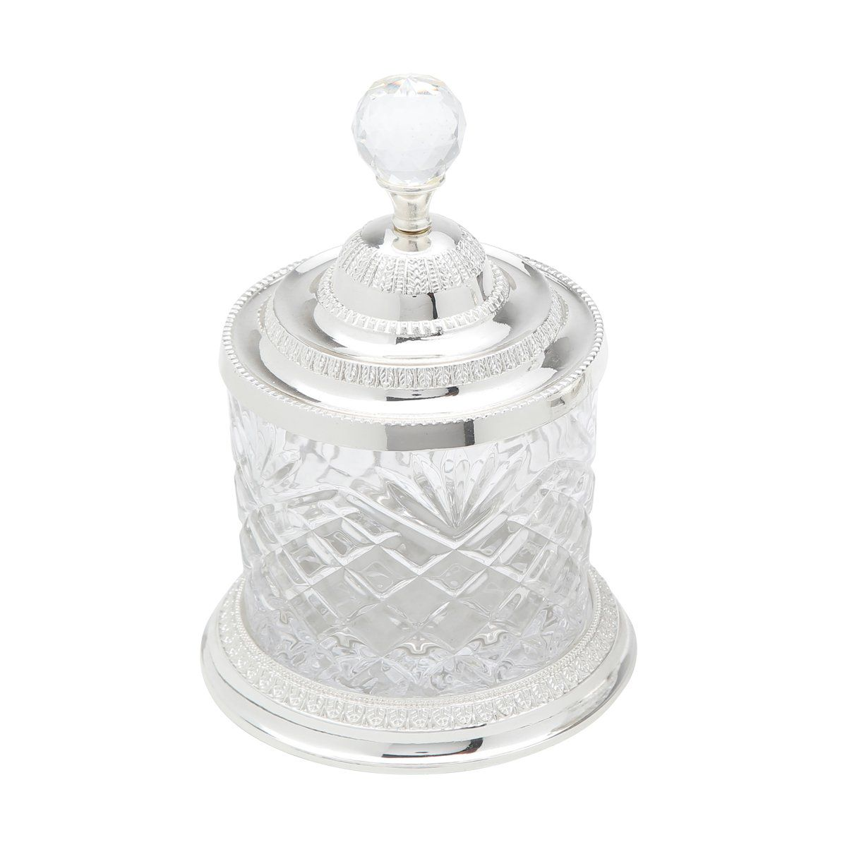 Pote Multiuso 16,5 cm de cristal e zamac prateado com tampa Lyor - L3762