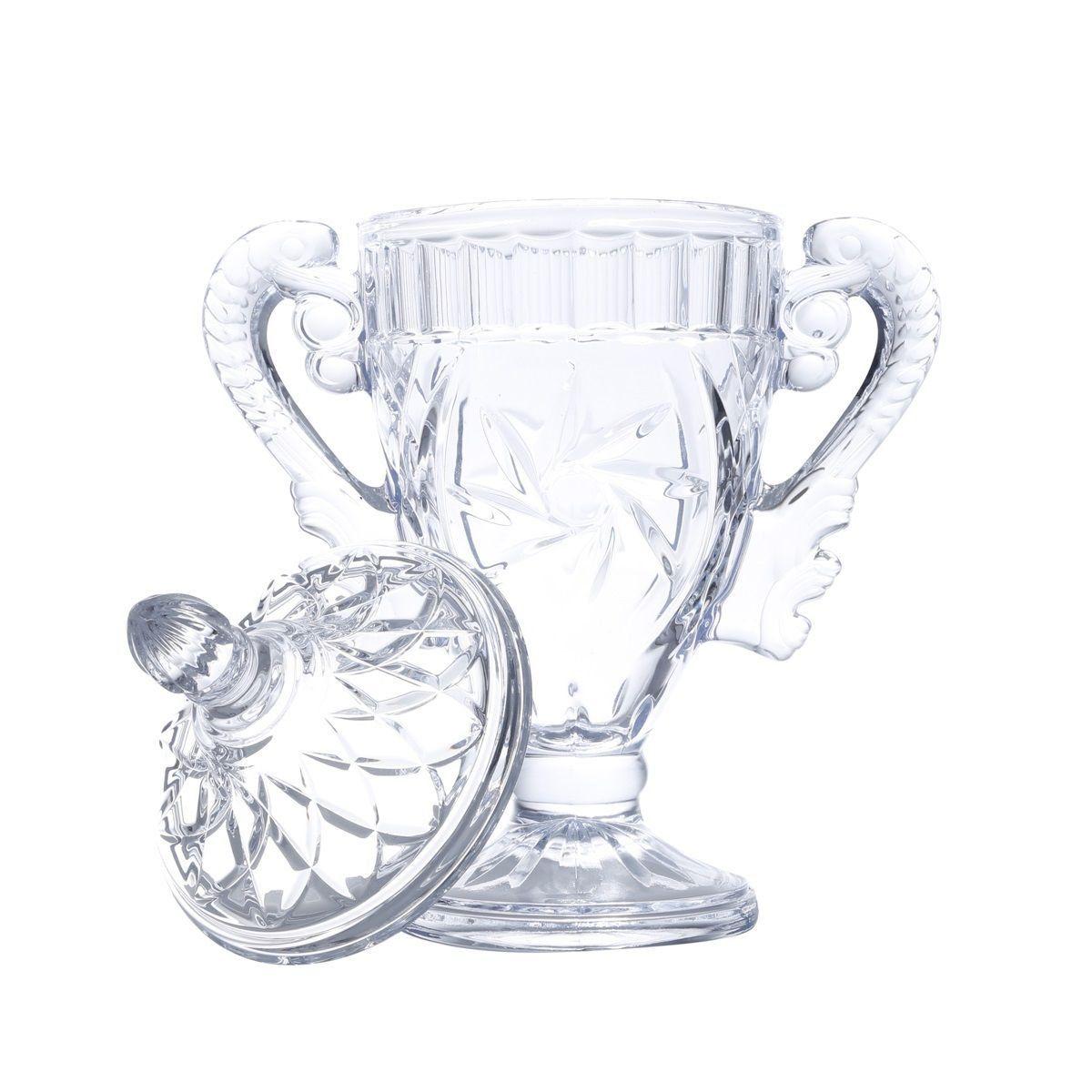 Potiche 29 cm de vidro transparente com alça e tampa Bella Bon Gourmet - 25821