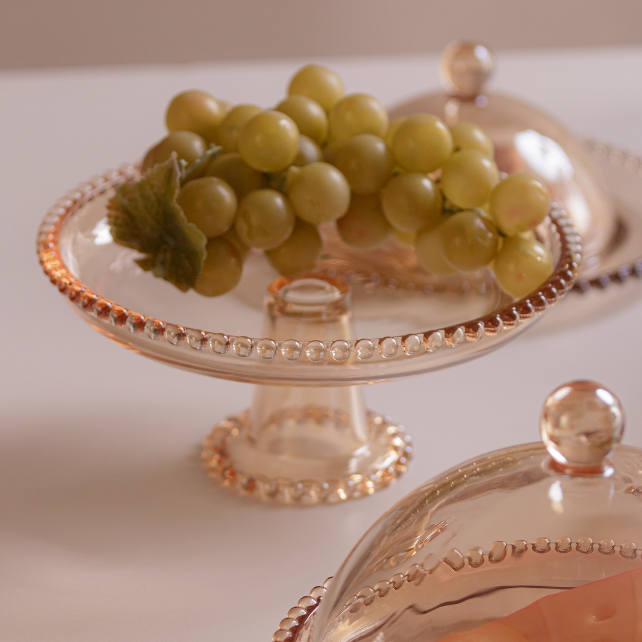 Prato 20 cm para bolo de cristal âmbar com pé Pearl Wolff -28271