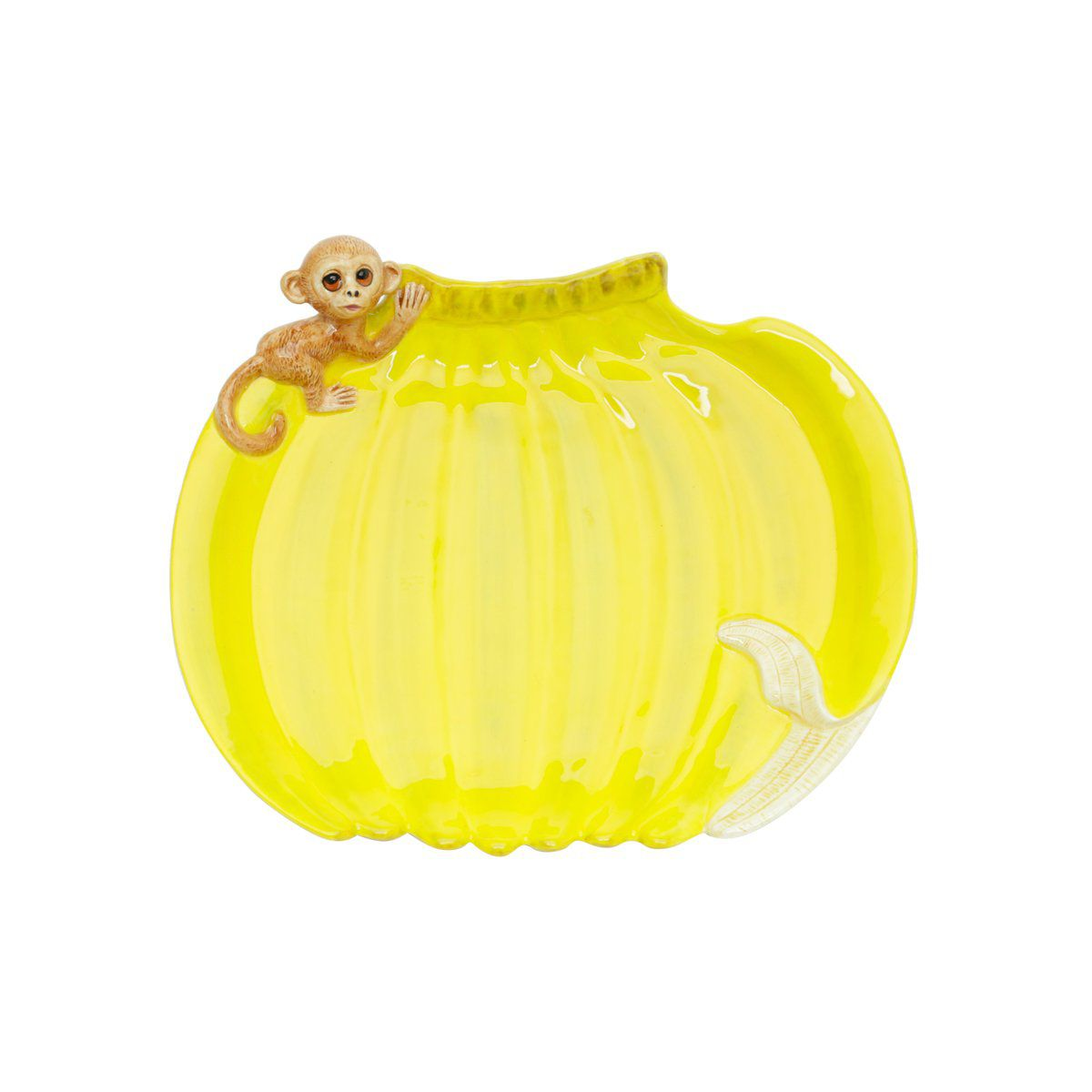 Prato 23,5 x 20 cm de cerâmica amarela Banana Rojemac - 26799