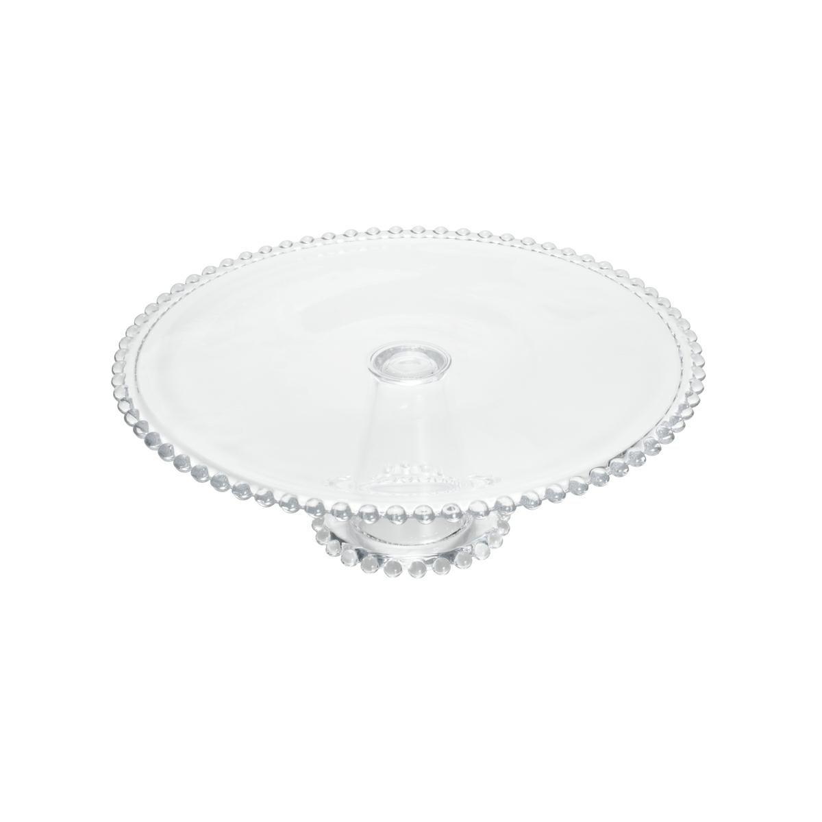 Prato 31 cm para bolo de cristal transparente com pé Pearl Wolff - 2968