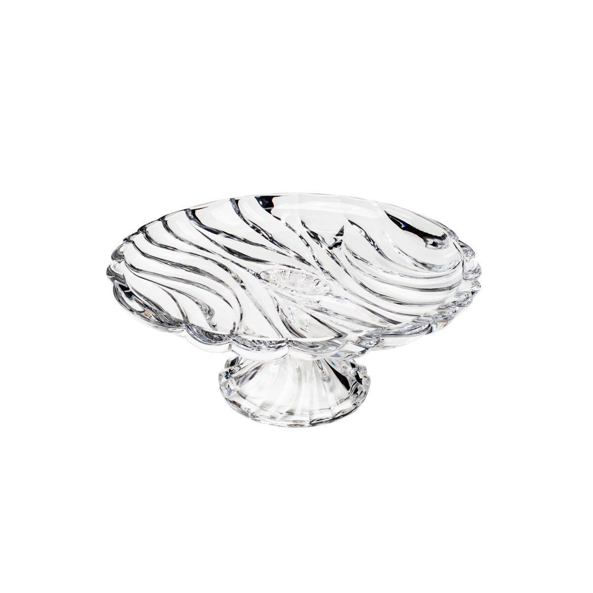Prato 32,5 cm para bolo de cristal com pé transparente Bamboo Wolff - 26480