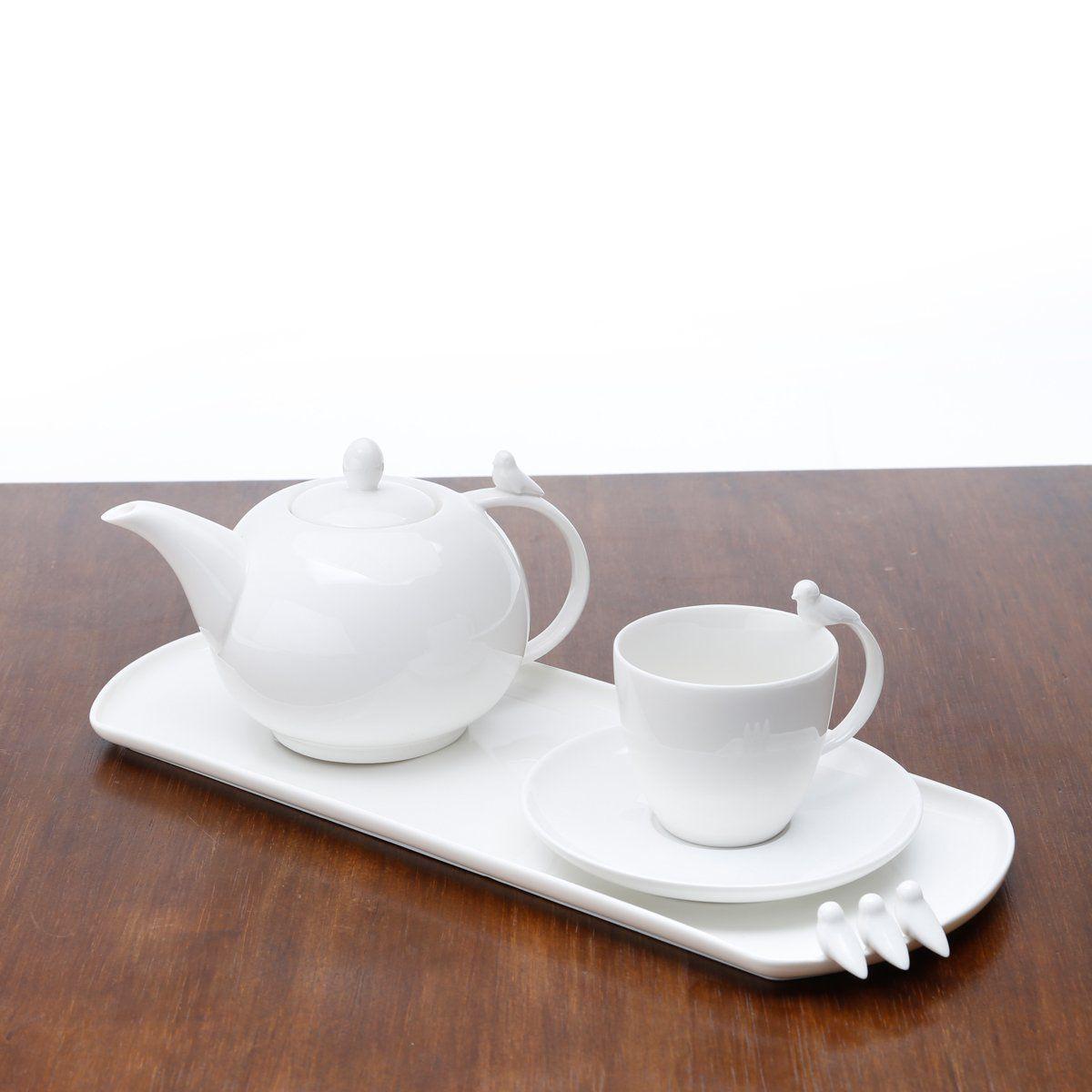 Prato 41 x 16 cm para bolo de porcelana branca Birds Wolff - 17246