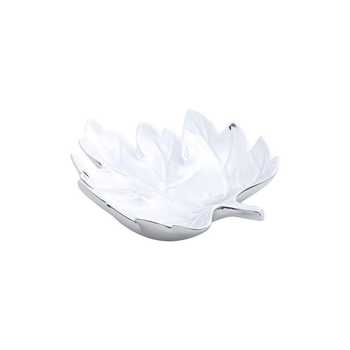 Prato decorativo 28 cm de cerâmica prateado Folha Prestige - 25674