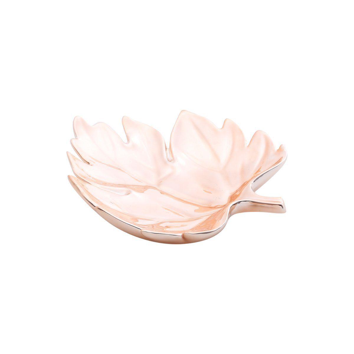 Prato decorativo 20 cm de cerâmica rosé gold Folha Prestige - 25675