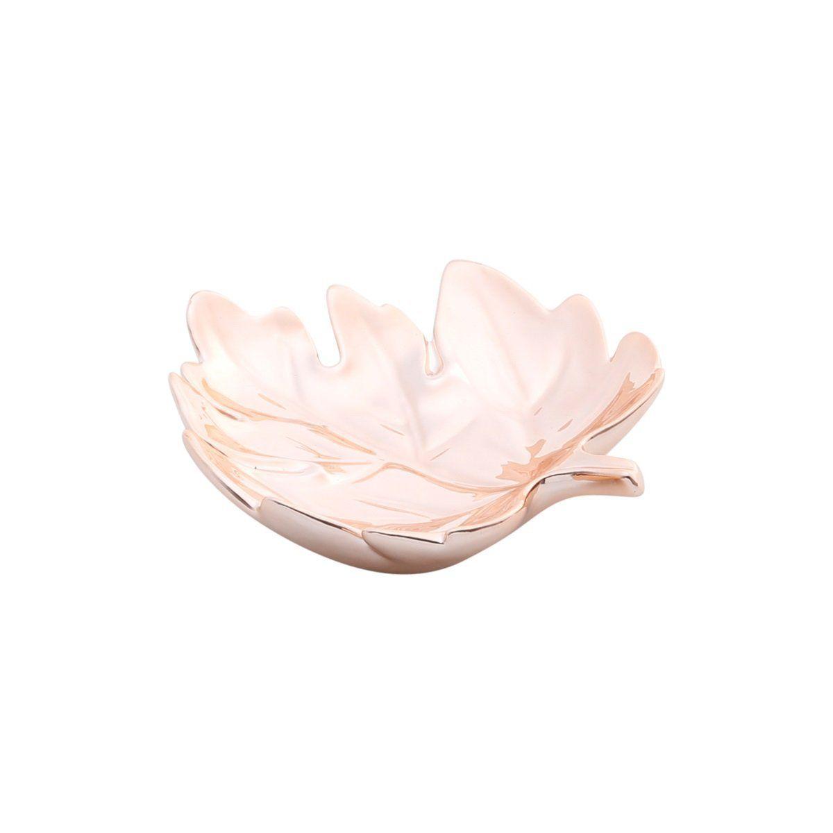 Prato decorativo 14 cm de cerâmica rosé gold Folha Prestige - 25677