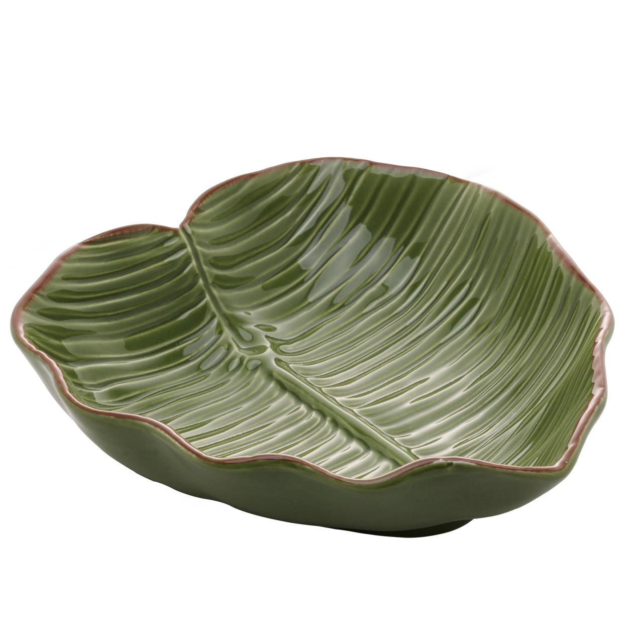 Prato decorativo 16 cm de cerâmica verde Banana Leaf Lyor - L4495