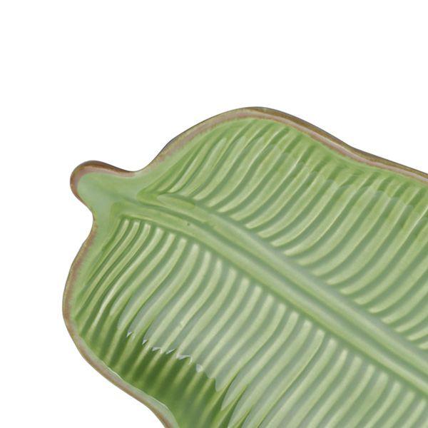 Prato decorativo 16 x 9 cm de cerâmica verde Banana Leaf Lyor - L3870