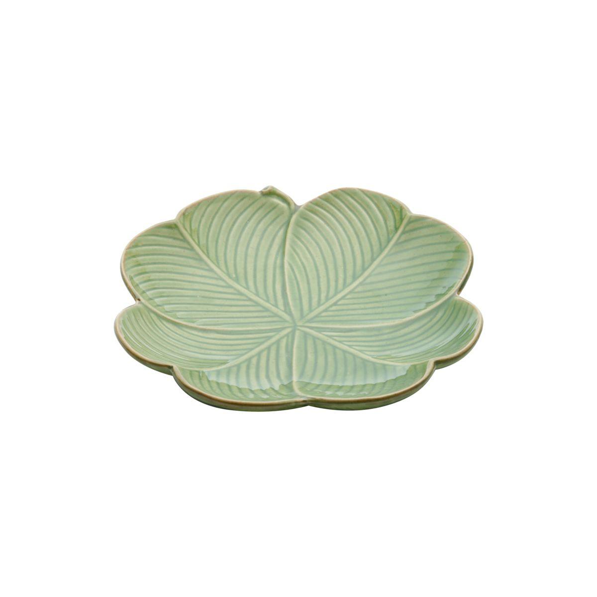 Prato decorativo 20 cm de cerâmica verde Banana Leaf Lyor - L4136