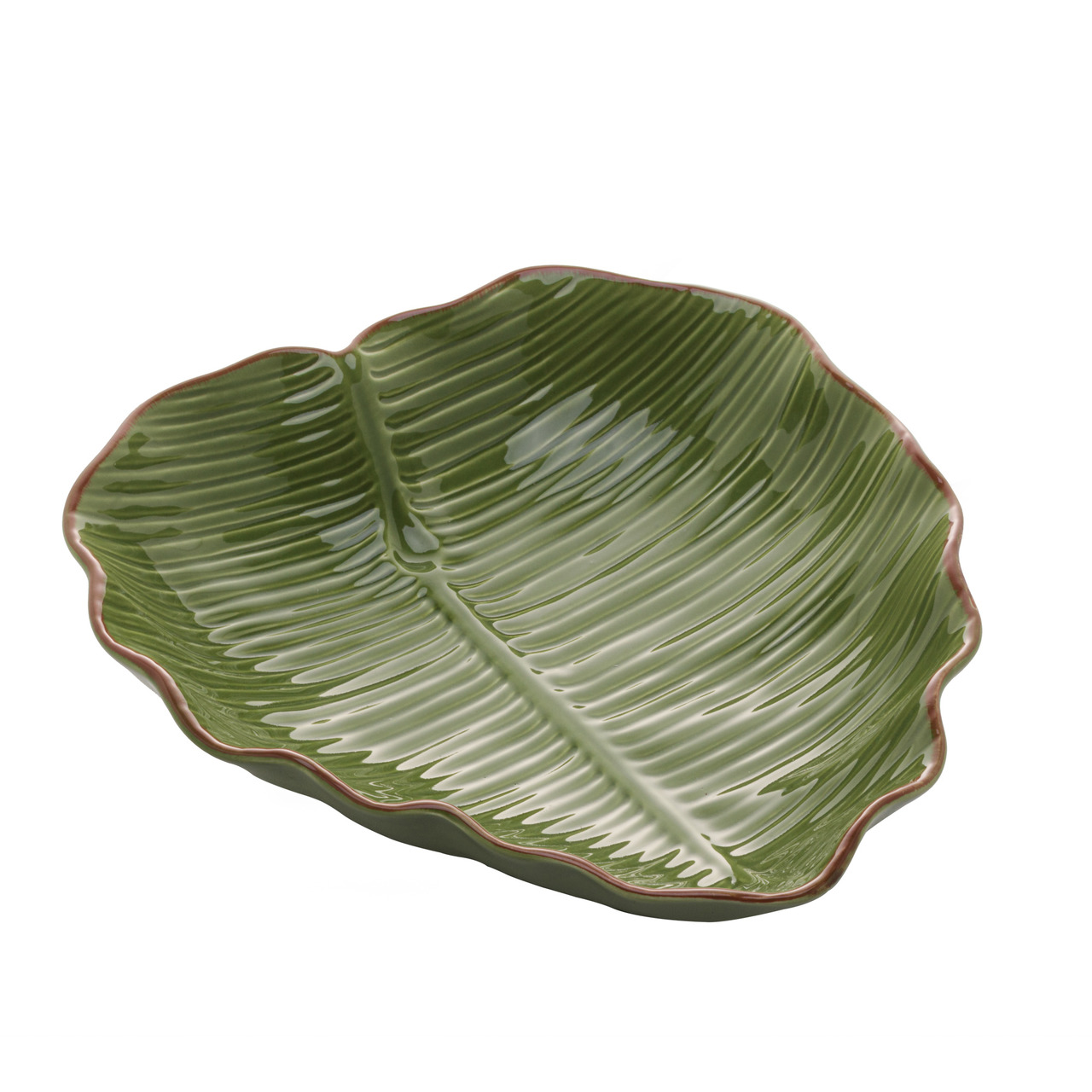 Prato decorativo 23,5 cm de cerâmica verde Banana Leaf Lyor - L4496