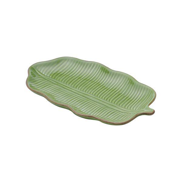 Prato decorativo 25,5 x 15,5 cm de cerâmica verde Banana Leaf Lyor - L3868