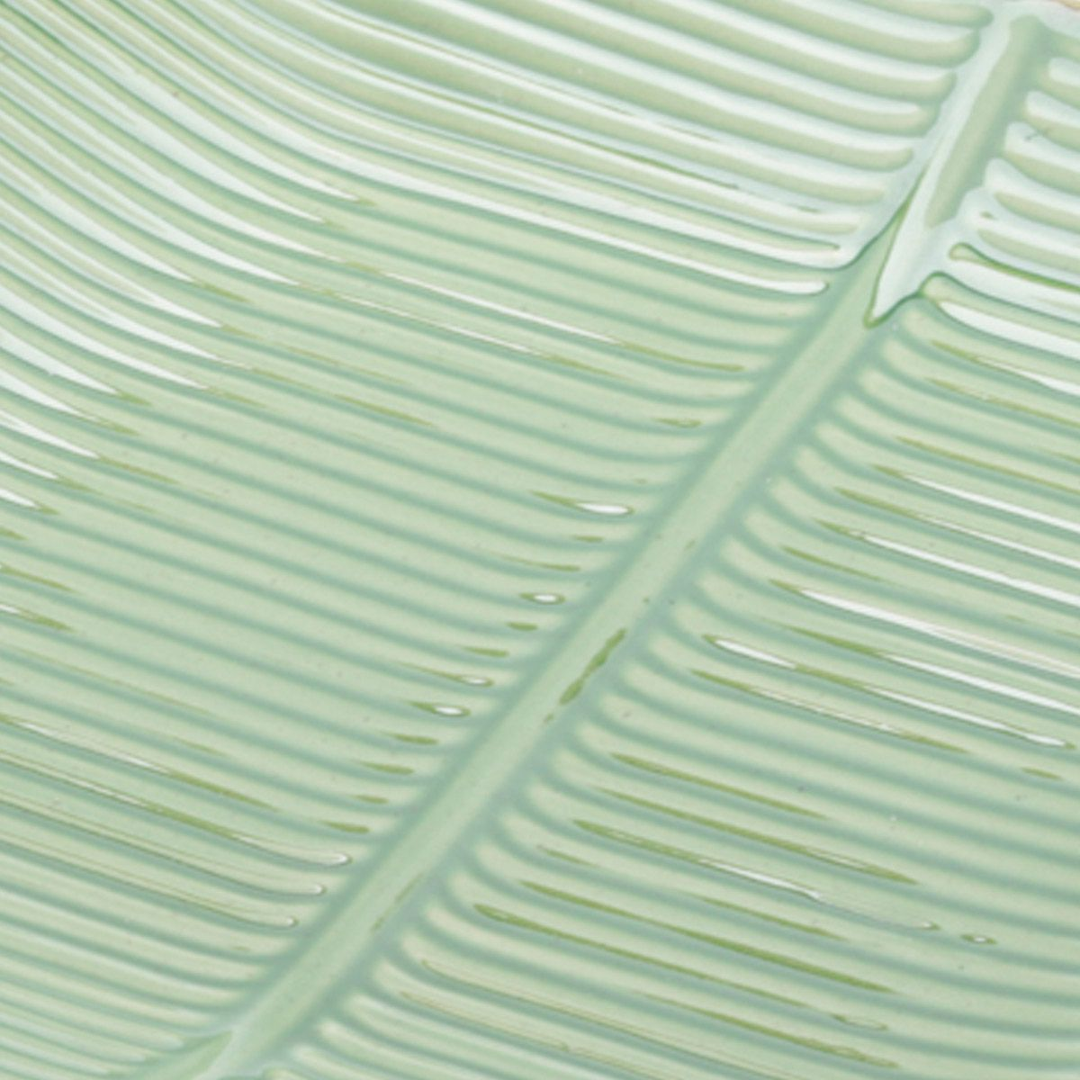 Prato decorativo 27 x 27 cm de cerâmica verde Banana Leaf Lyor - L4138
