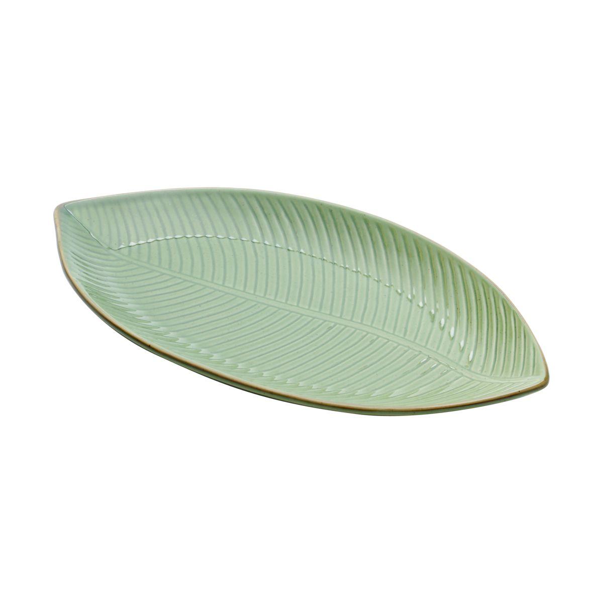 Prato decorativo 34 x 18 cm de cerâmica verde Banana Leaf Lyor - L4128