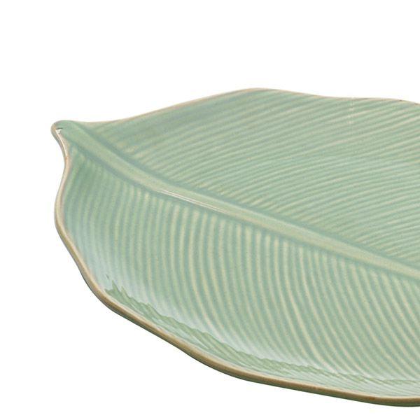 Prato decorativo 38 x 24 cm de cerâmica verde Banana Leaf Lyor - L4123