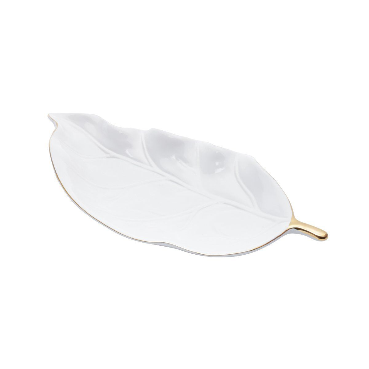 Prato decorativo 27 cm de cerâmica branco e dourado White Leaf Prestige - 26081