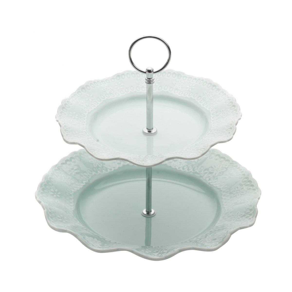 Prato duplo 23,5 cm para doces de porcelana azul com suporte de metal Princess Lyor - L8240