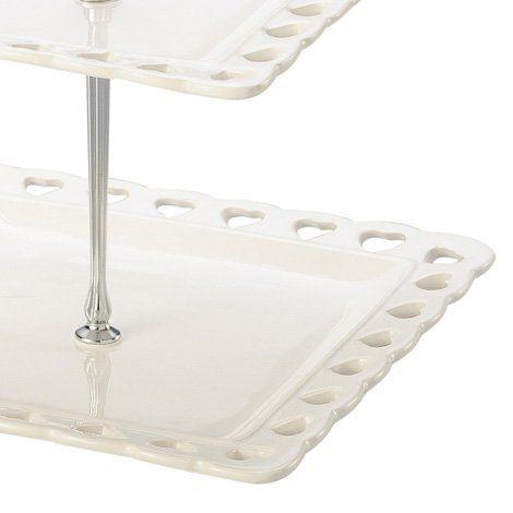 Prato duplo 26,5 cm para doces de cerâmica branca quadrado com suporte de metal Coração Lyor - L8026