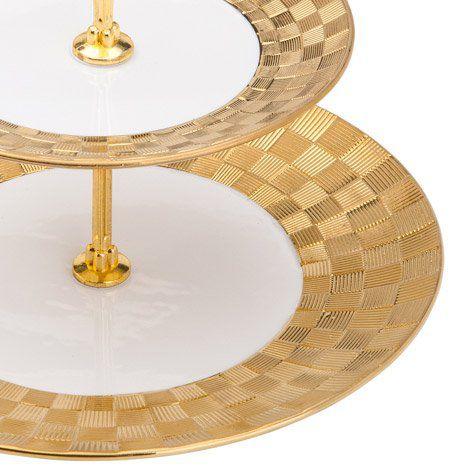 Prato duplo 26,5 cm para doces de porcelana branca e dourada com suporte de metal Vera Wolff - 17441