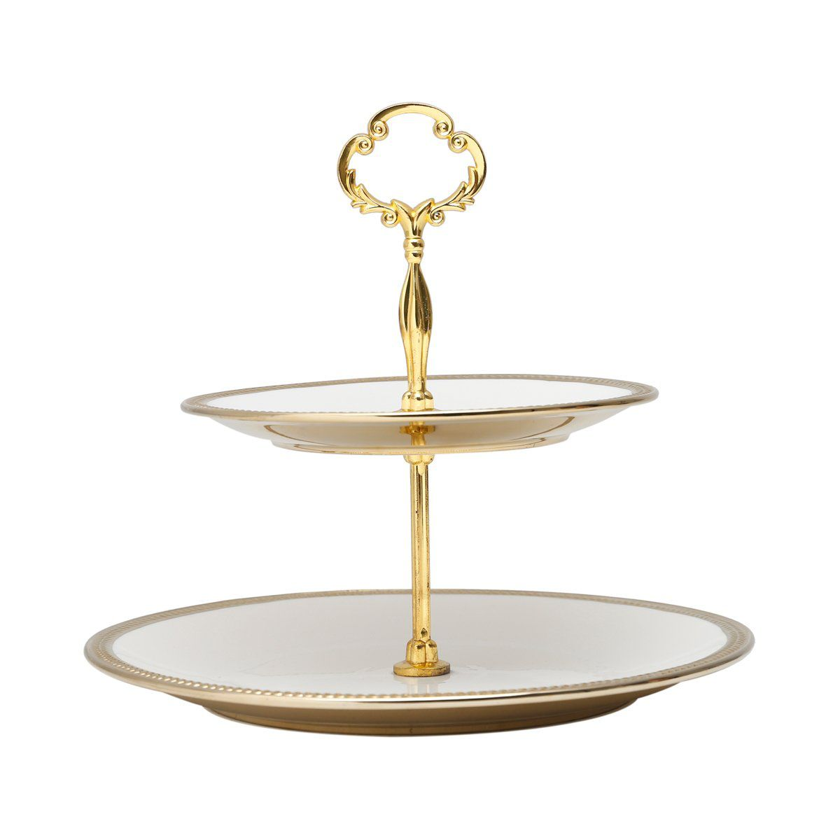 Prato duplo 27 cm para doces de porcelana branca com suporte de metal dourado Paddy Wolff - 25110