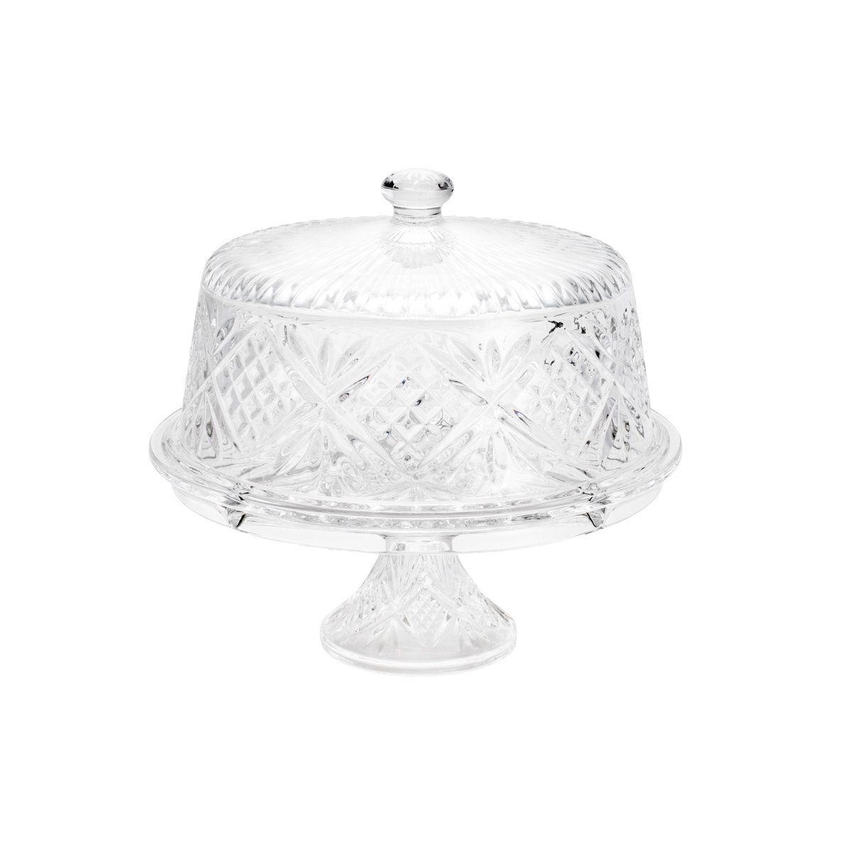 Prato 30,5 cm para bolo de cristal transparente com tampa e pé Ice Rock Wolff - 3896