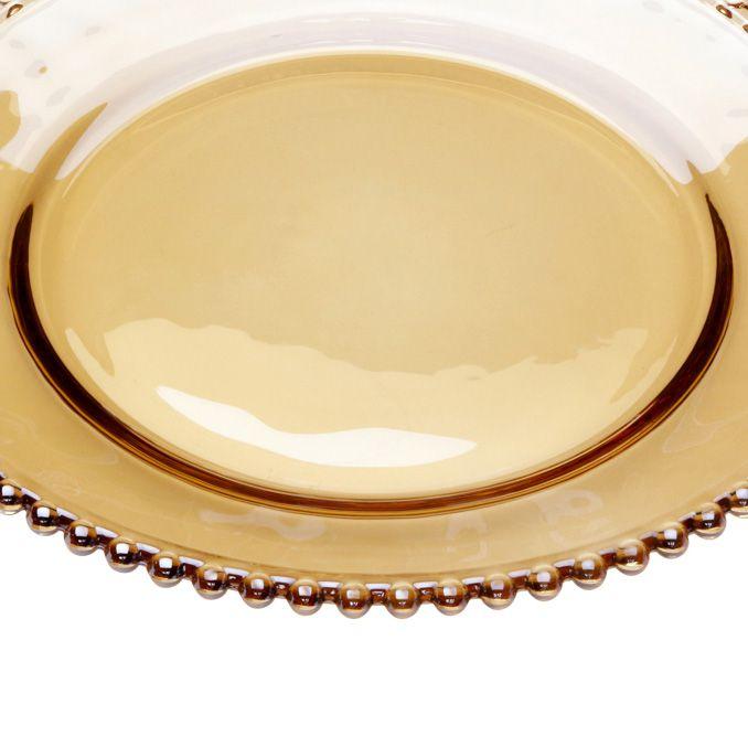 Prato raso 28 cm de cristal âmbar Pearl Wolff - 27663