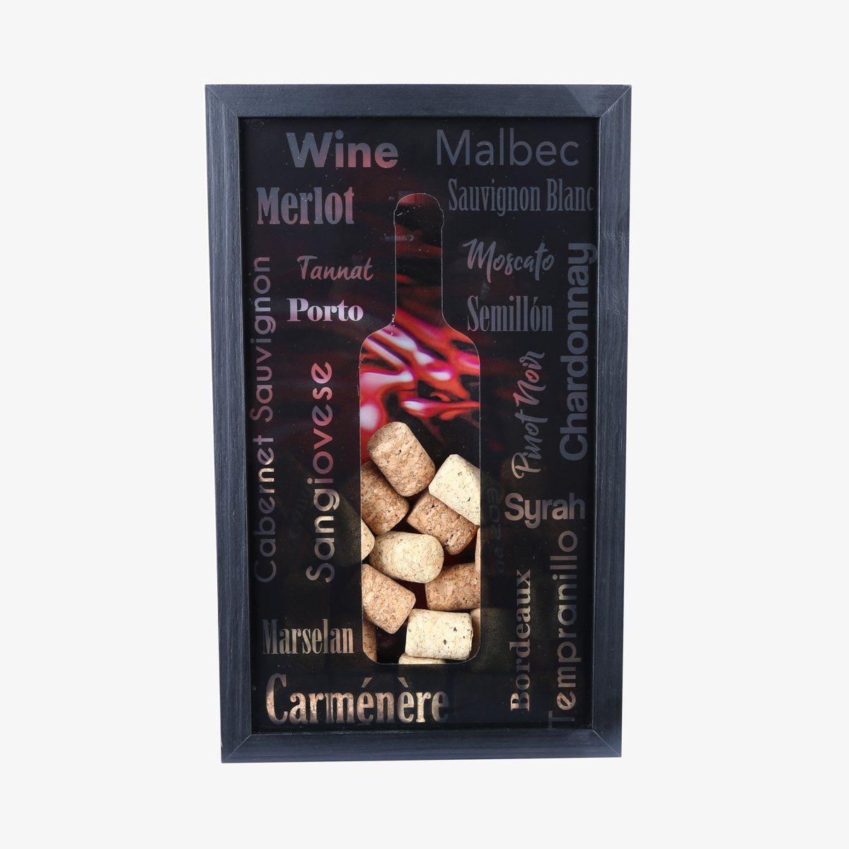 Quadro porta rolhas de vinho 32 x 20 cm de madeira e vidro Preto Woodart - 12857