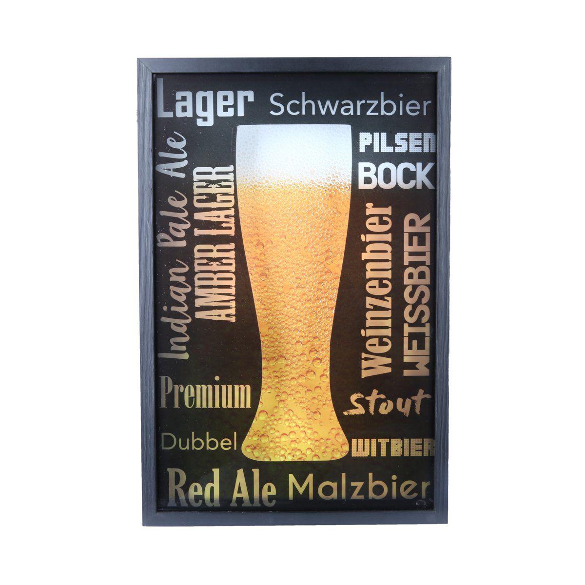 Quadro porta tampinhas de cerveja 47 x 31 cm de madeira e vidro preto Woodart - 12803