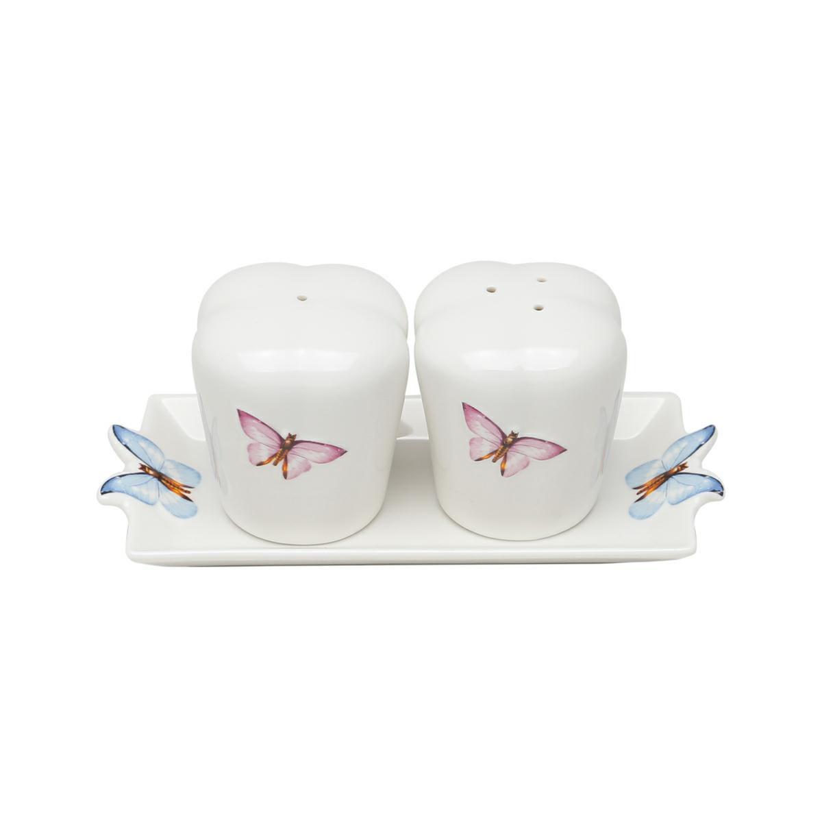 Conjunto 3 peças saleiro e pimenteiro de porcelana branca com bandeja Borboletas Wolff - 25038