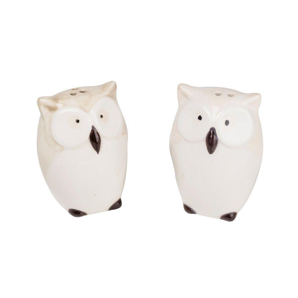 Jogo saleiro e pimenteiro de porcelana Coruja Lyor - L8143