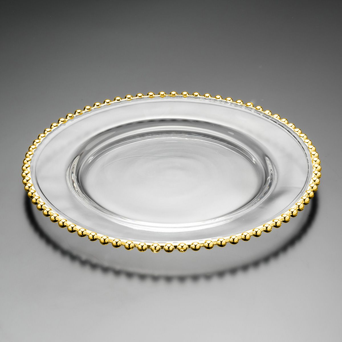 Sousplat 31,5 cm de cristal transparente com borda dourada Pearl Wolff - 2986