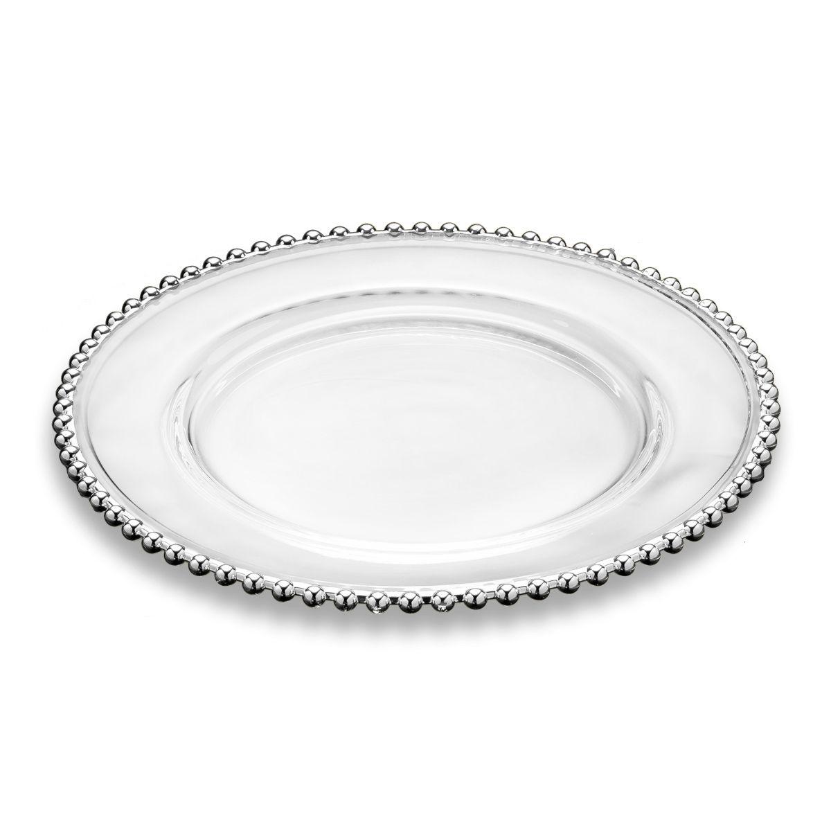 Sousplat 31,5 cm de cristal transparente com borda prateada Pearl Wolff - 2921