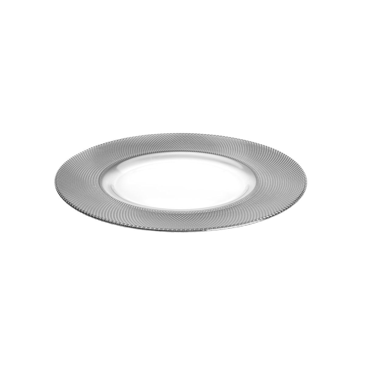 Sousplat 32,5 cm de cristal transparente e prateado Rojemac - 26786