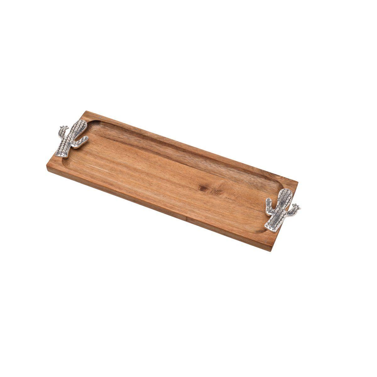 Petisqueira, bandeja 36 cm de madeira e zamac Acácia Cactus Bon Gourmet - 26360