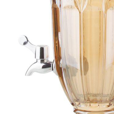 Suqueira 2 litros para bebida de cristal âmbar com pé e tampa Brandon Wolff - 27480