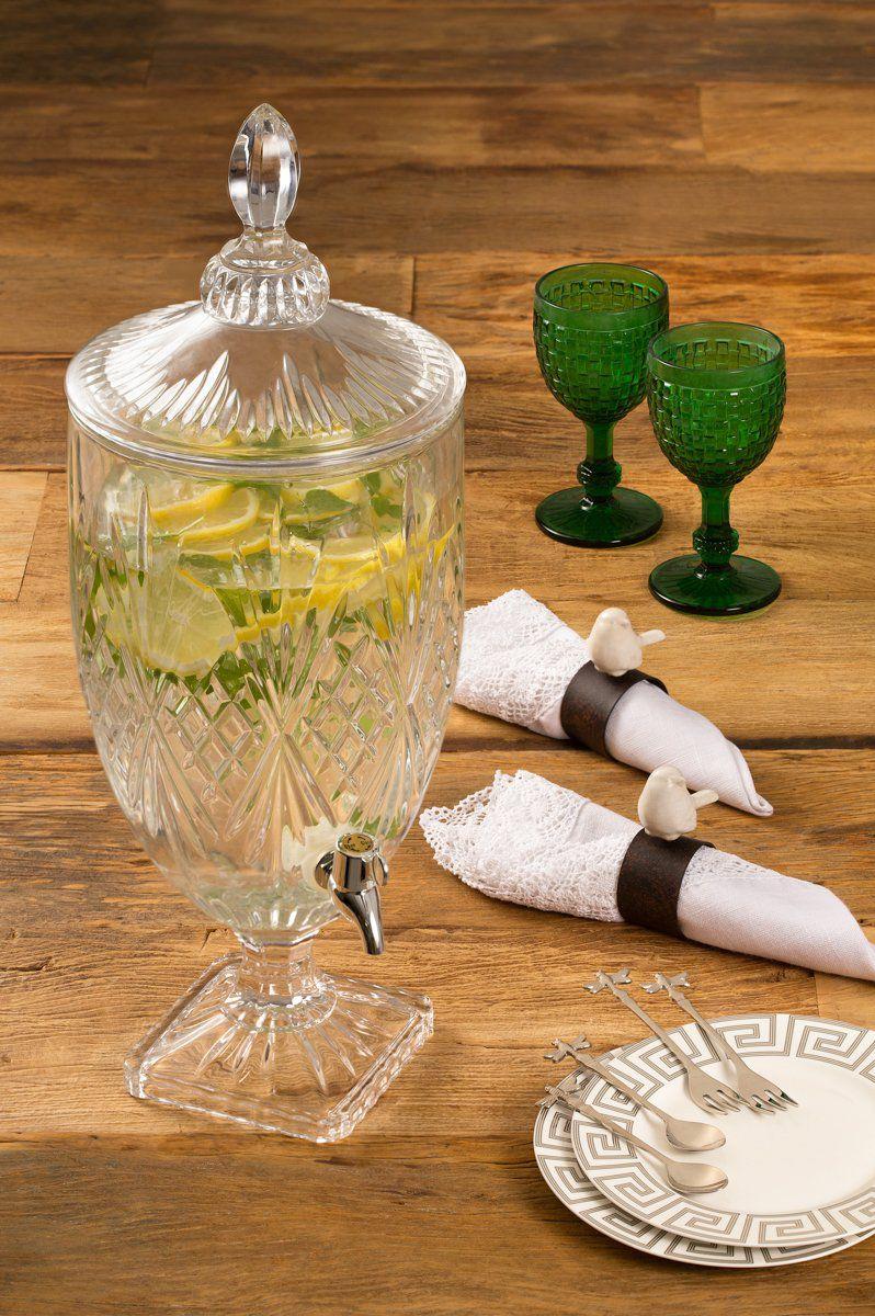 Suqueira, dispensador 4 litros para bebida de cristal Brandon Lyor - L6404
