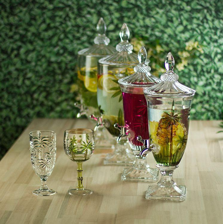 Suqueira Dispenser 2 litros para bebida de cristal com pé e tampa Palm Tree Wolff - 27576