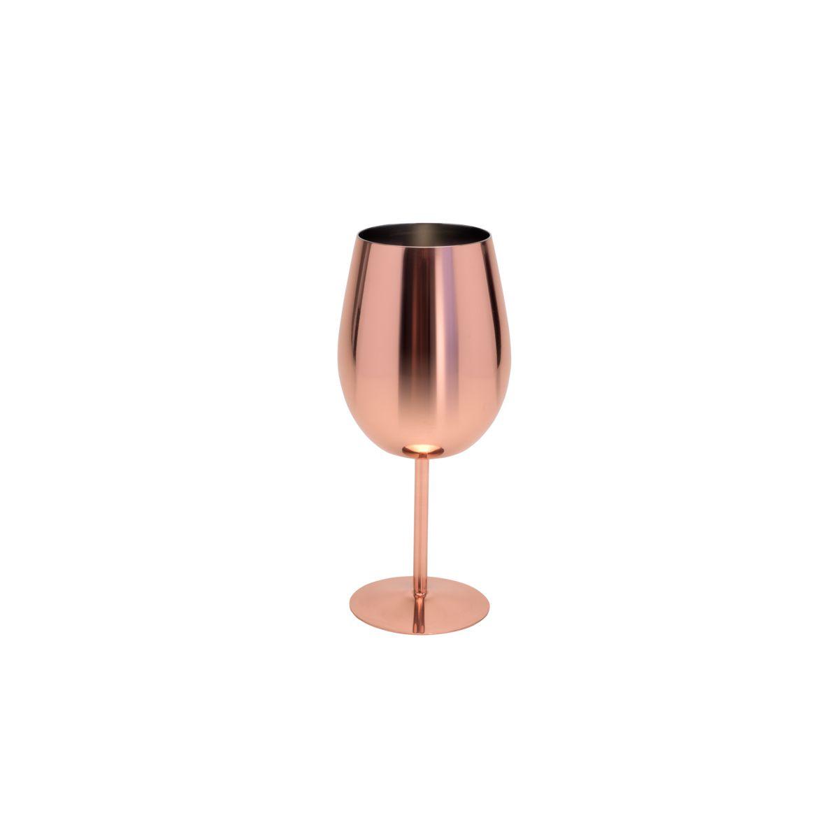 Taça 400ml para vinho de aço Inox cobre rosé gold Delhi Wolff - 27326