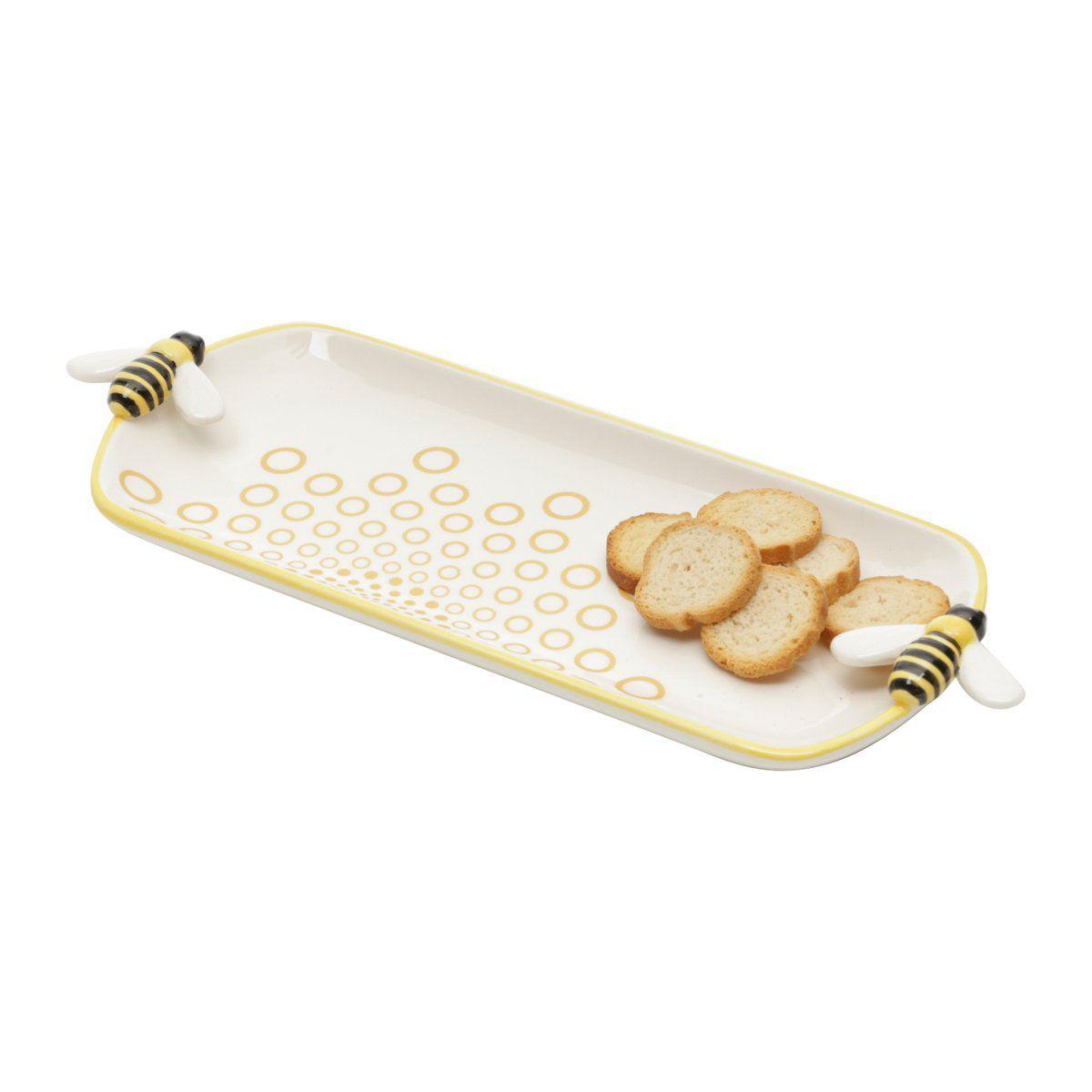 Travessa 21,5 x 8,5 cm de cerâmica branca e amarela Abelha Lyor - L64026