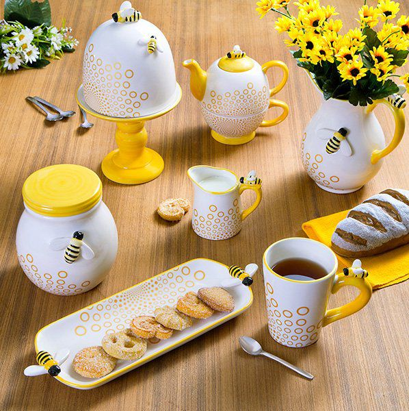 Travessa 27,5 x 10,5 cm de cerâmica branca e amarela Abelha Lyor - L64025