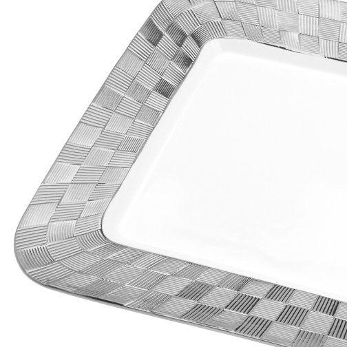 Travessa 33,5 x 23 cm de porcelana branca e prateado Vera Wolff - 17430