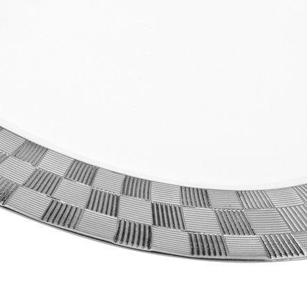 Travessa 35,5 x 25 cm de porcelana branca e prateada Vera Wolff - 17426