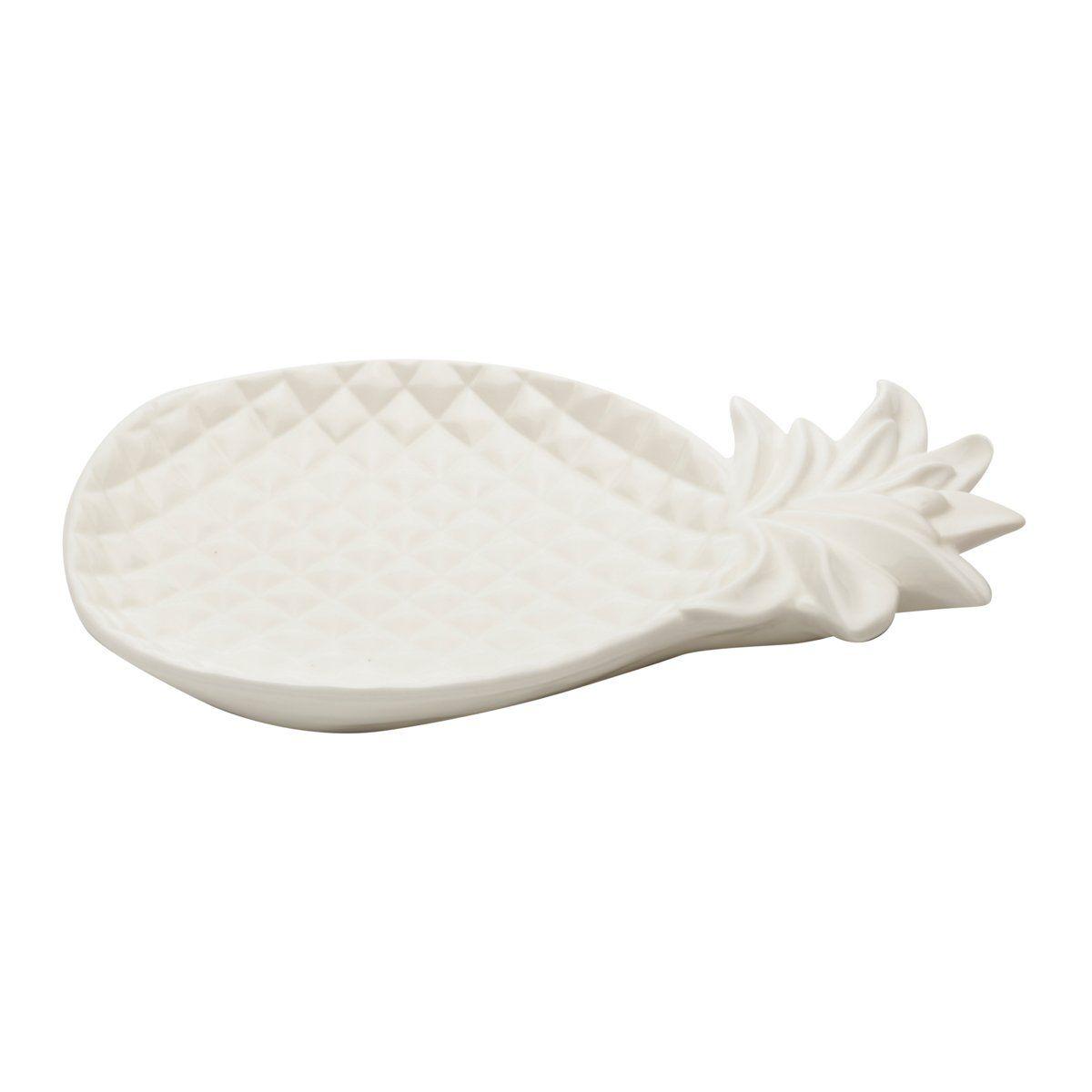 Travessa decorativa 32 cm de cerâmica branca Abacaxi Lyor - L64046
