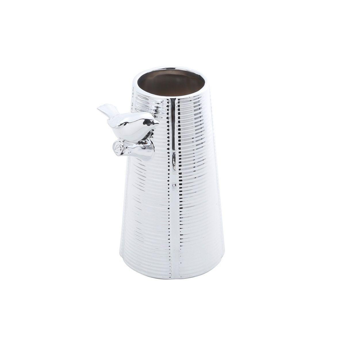 Vaso decorativo solitário 14,5 cm de cerâmica prateado Bird Prestige - 25672