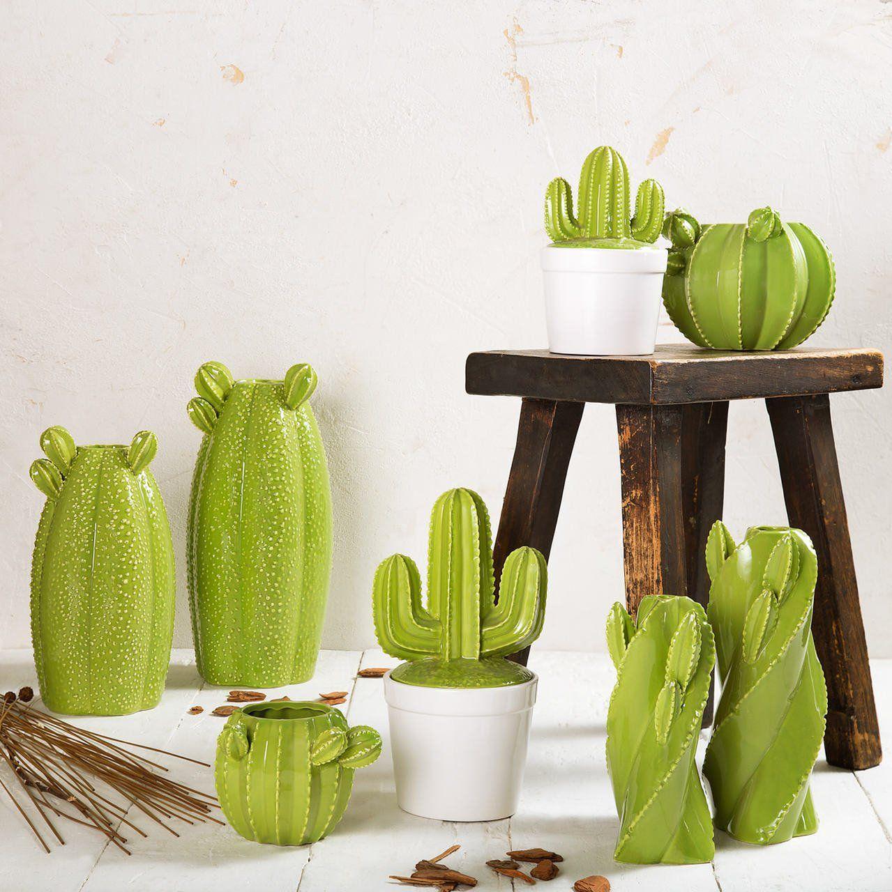 Vaso decorativo 25,5 cm de cerâmica verde Cactos Prestige - 25667