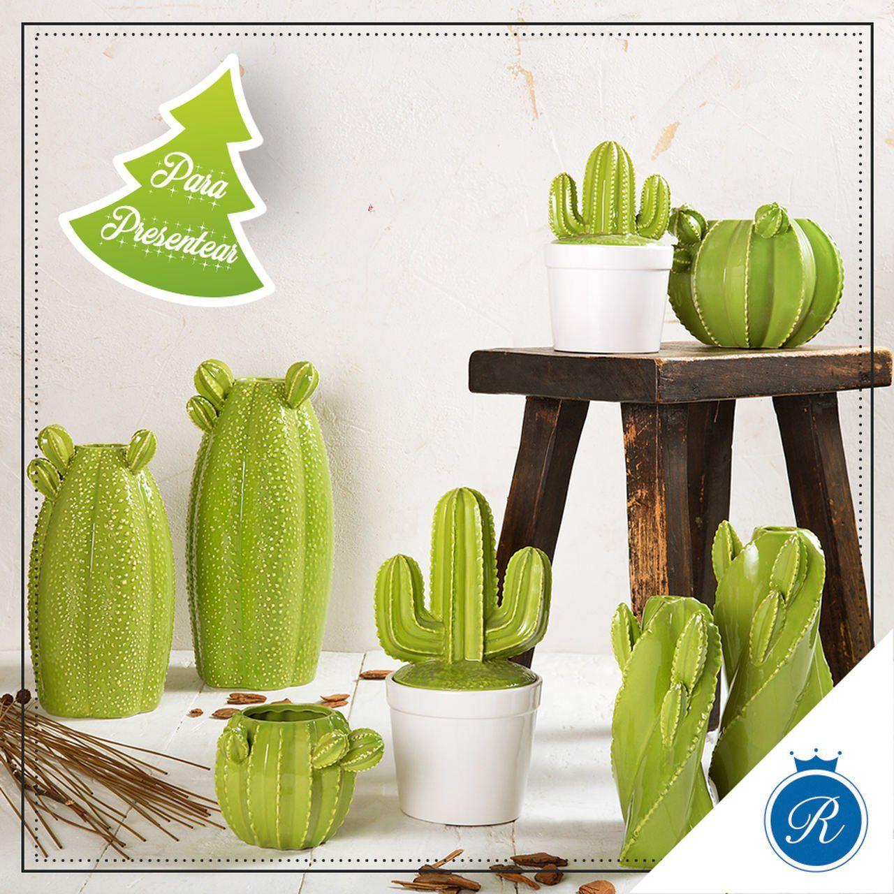 Vaso decorativo 18,5 cm de cerâmica verde Cactos Prestige - 25668