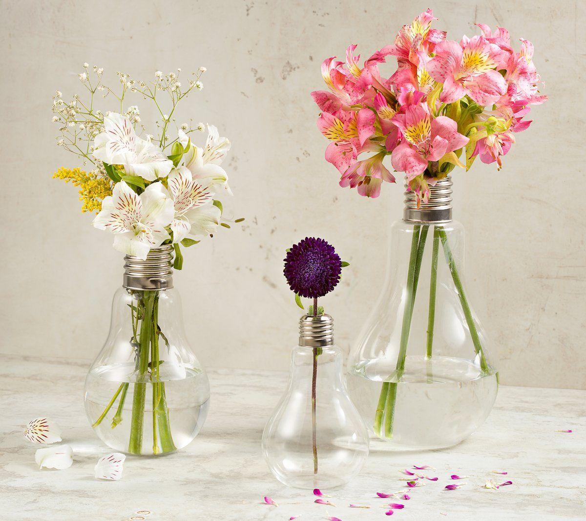 Vaso decorativo 22 cm de vidro transparente e metal Lâmpada Lyor - L3571